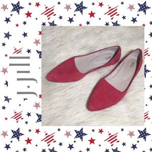 J Jill Red Suede flats Pointy Toe